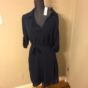 New York & co 3/4 sleeve tie waist navy dress LG